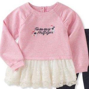 Tommy Hilfiger Matching Sets - Tommy Hilfiger Pink Lace-Ruffle Tunic & Leggings